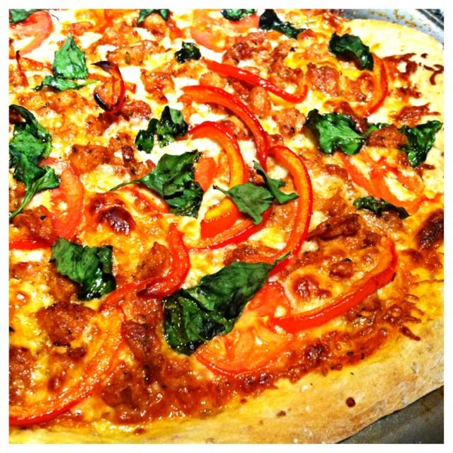 Spicy Chicken Sausage and Veggie Pizza