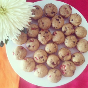 Mini Raspberry Chocolate Chip Banana Muffins